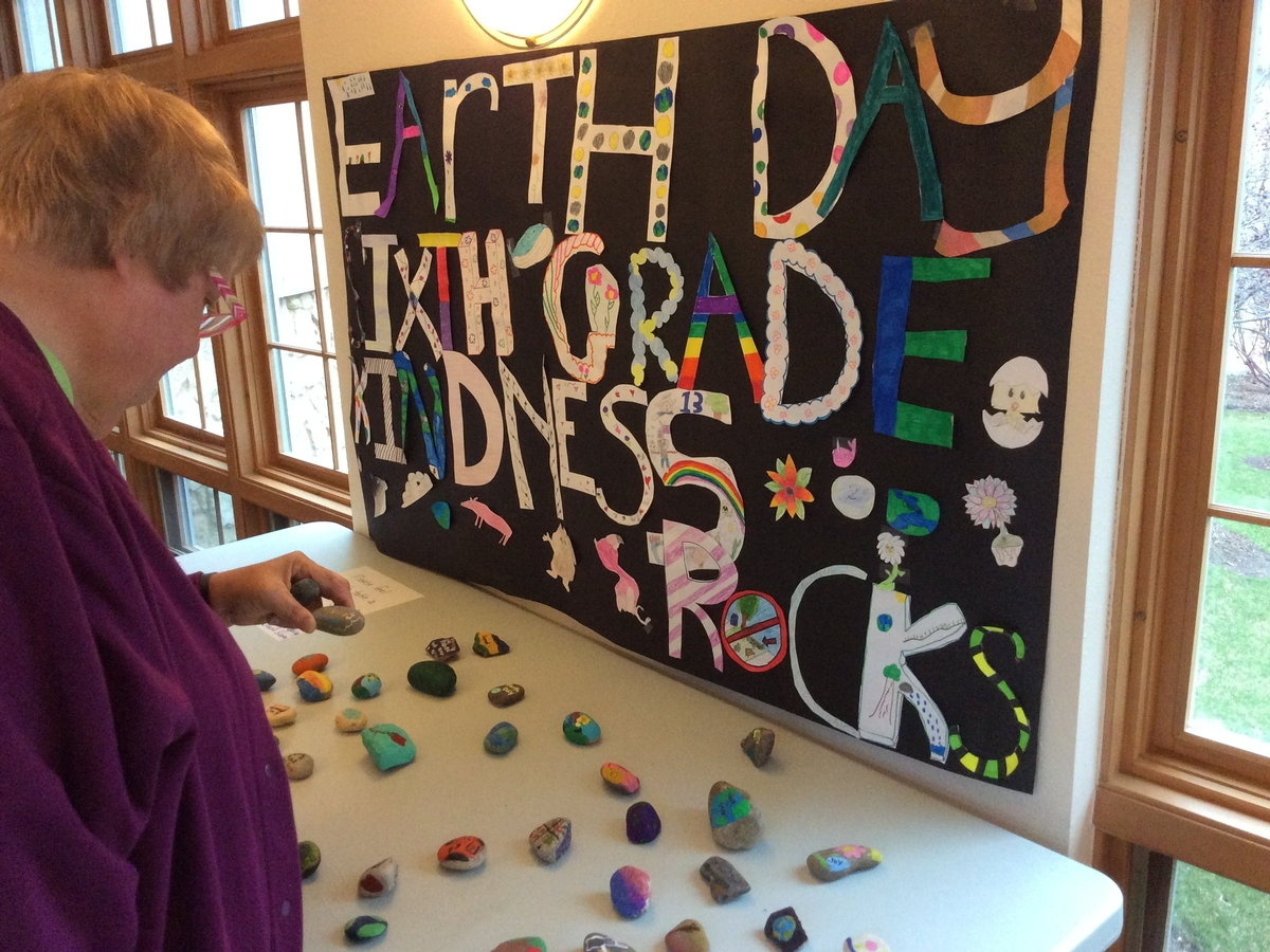 Earth Day Display of Rocks from SMSA Gr 6 students