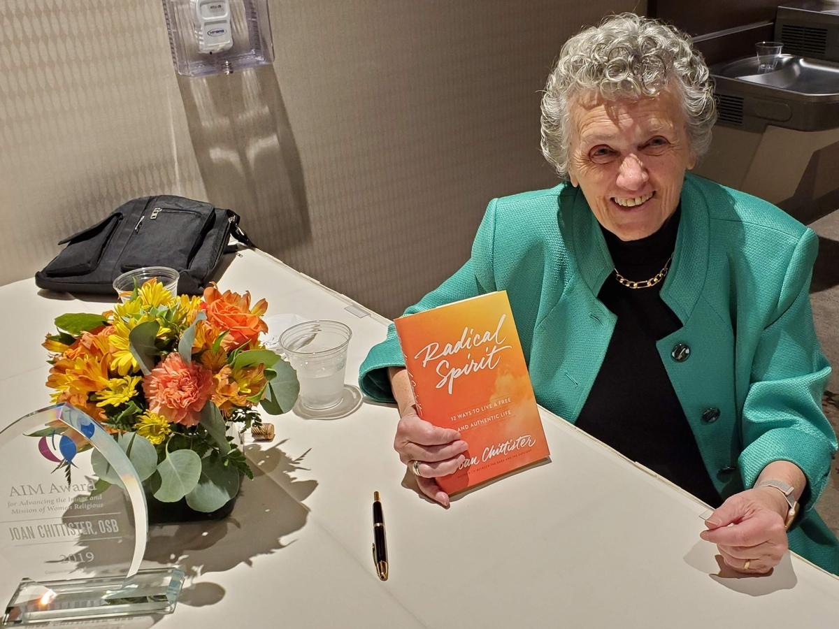 Sisters Joan Chittister with one of more than 60 books she has published.