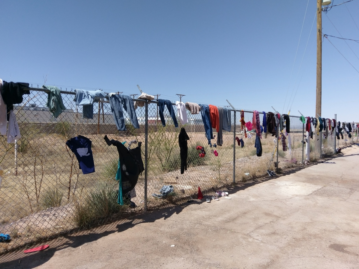 laundry on the fence