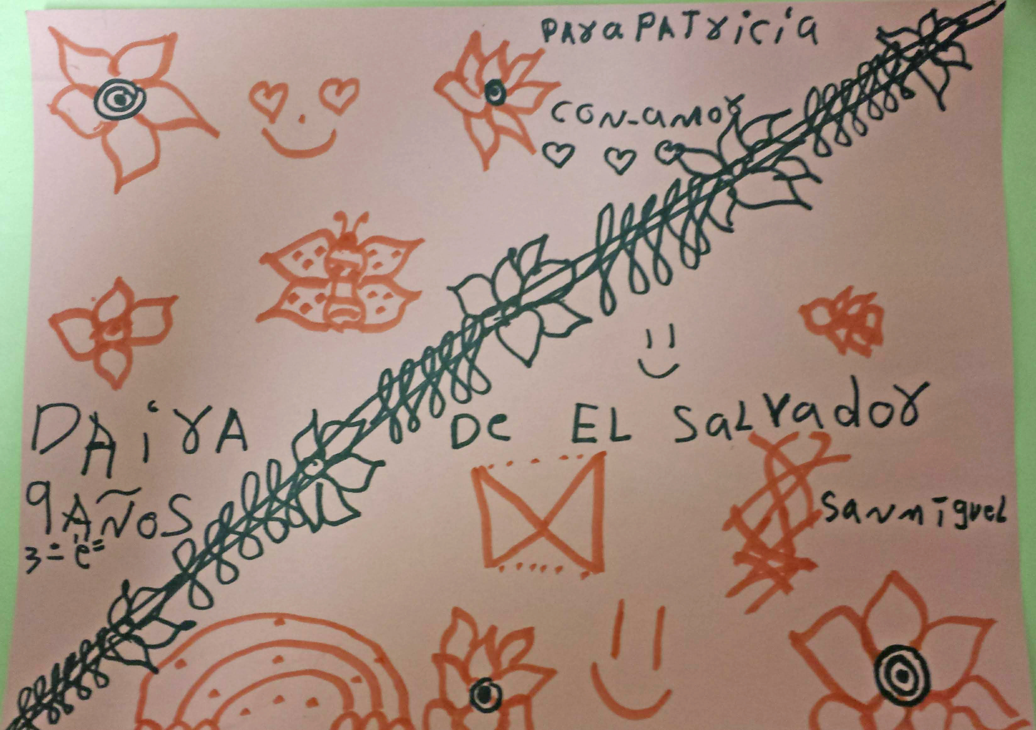 drawings by two little girls from Guatemala