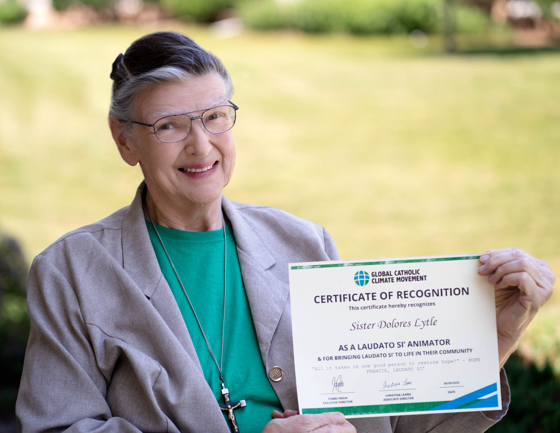 Sister Dolores with her Certificate