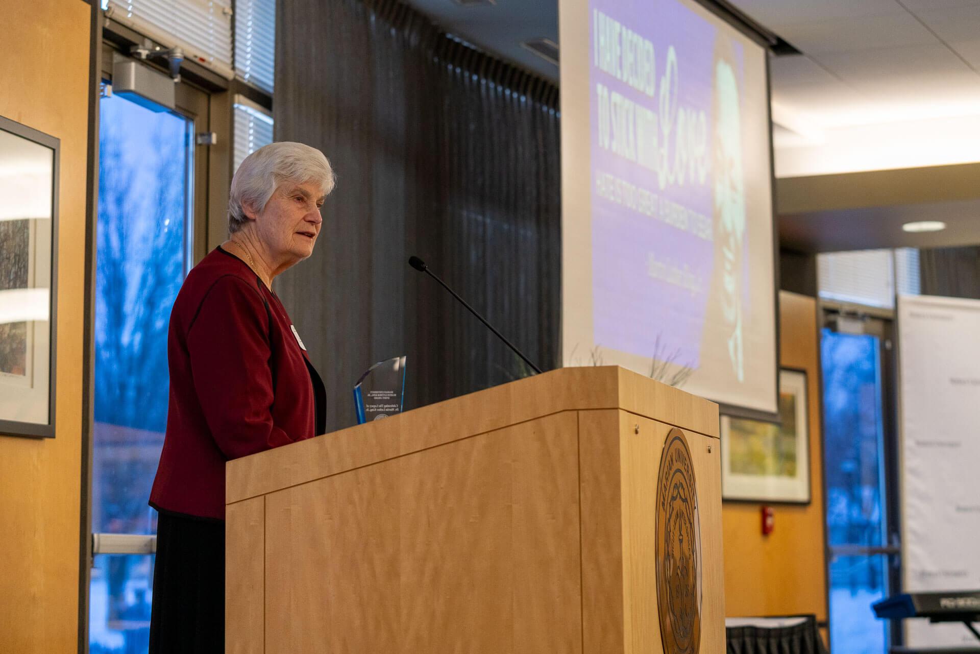 Sister Jean at podium
