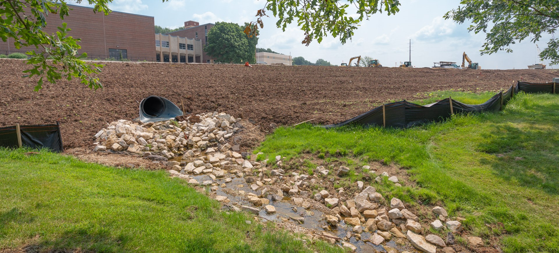 Image of the landscaping near spring tunnel under the roadway