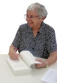 Margaret Lorimer, CSA, signing her book