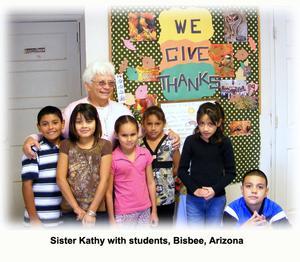 Sister Kathy with students, Bisbee, Arizona