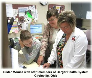 Sister Monica (center) with staff members of Berger Health System Circleville, Ohio
